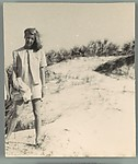 [Unidentified Woman, Possibly Jane Evans Brewer, Standing on Sand Dune]