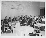 [Walker Evans and Unidentified Guests at Dinner Table, Aboard French Ocean Liner]