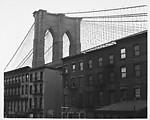 [View of Brooklyn Bridge Behind Tenement Houses]