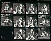 [3 Original Annotated Contact Sheets of Young Woman Seated on Lawn and in Car]