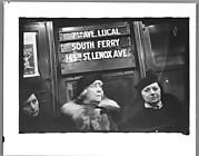 "[Subway Passengers, New York City: Three Women Beneath ""7th Avenue Local"" Sign]"
