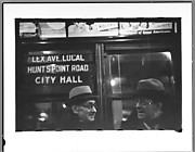 """[Subway Passengers, New York City: Two Men in Conversation Beneath """"Lex Ave Local"""" Sign]"""