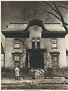 [Italianate Revival House with Man on Sidewalk, Possibly John Brooks Wheelwright, Cambridge, Massachusetts]