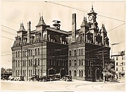 [Gothic Revival Building with Clocktower, Police Station, Cambridge, Massachusetts]