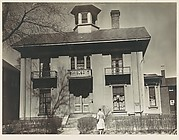 [Italianate Revival House with Man on Sidewalk, Possibly John Brooks Wheelwright, Cambridge, Massachusetts]