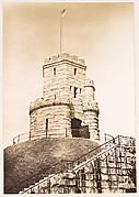 [Rusticated Castle Turret with American Flag, Somerville, Massachusetts]