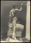 "[Male Model Posed in Saddle for Anna Huntington's ""Torch Bearers""]"