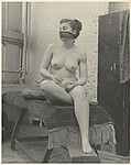 [Nude Female Model with Scarf Over Mouth]