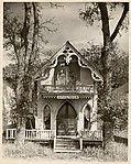 "[Victorial Gothic House with Sign Reading ""Felica Penso"""
