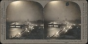[Group of 5 Stereograph Views of the Thames River at Night, London, England]