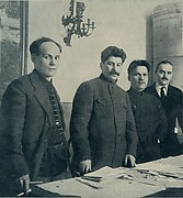 [Nikolai Antipov, Stalin, Sergei Kirov, and Nikolai Shvernik in Leningrad, 1926] in S.M. Kirov Album, 1886-1934 (Leningrad, 1936)