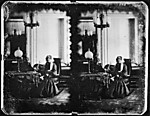 [Stereoscopic View of Old Woman Seated in Parlor]