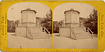 [2 Stereographic Views of Miscellaneous Structures including Camera Obscura and Photographic Tent, Central Park, New York]