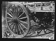 [Detail of Wagon Wheel and Flatbed, Old Wallabout Market, Brooklyn, New York]