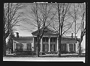 [Greek Revival House with Ionic Columns in Full Height Entry Porch and For Sale Sign, New York State?]