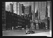 [Second Empire Town Houses and Skyscrapers with Parked Car in Foreground, New York City]