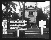 [Greek Revival Church with Roadside Highway and Route Signs in Foreground, Brookfield, Connecticut]