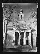[Church with Ionic Columns on Entry Porch and Tree Shadows on Façade, Beverly, Massachusetts]