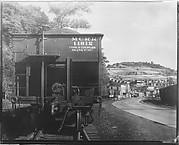 [Pennsylvania Railroad Car Rear in Mining Camp, Osage, West Virginia]