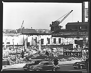 [Demolition Site with Cranes and Lunch Sign in Foreground, New York City]