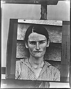 """[Copy of Print of """"Alabama Cotton Tenant Farmer Wife"""" (Allie Mae Burroughs) on Makeshift Easel]"""