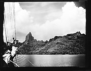 [South Seas: Rock Formations and Mountain Range, with Cressida Rigging in Foreground]
