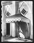 "[Jigsaw Canopy Over Water Pump of ""Wedding Cake"" House, Kennebunk, Maine]"