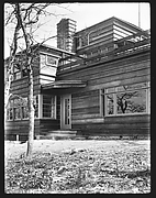 [Side View of Modernist House with Brick Patio, Residence of Lyman Paine and Ruth Forbes, Naushon Island, Massachusetts]