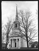 [Greek Revival Church Behind Trees and Power Lines]