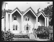 [Triple Gabled Gothic Revival House with Two Men on Porch, Nyack, New York]
