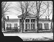 [Greek Revival House with Cast Iron Railing on Roof and Balconies, Near Waterville, New York]