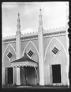 """[Wing Façade of """"Wedding Cake"""" House Showing Pump Canopy, Kennebunk, Maine]"""