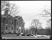 [Oblique View of Neoclassical Public Building with Gazebo Belltower]
