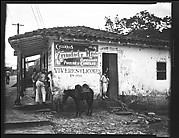 [General Store with People in Doorway and Pony Tied to Post, Havana Outskirts]