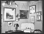 [Interior Detail Showing Corner Sink and Pictures on Wall, Storrs House, Hartford, Connecticut]