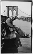 [Man Sleeping on Bench, Brooklyn Bridge, New York City]