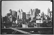 [Manhattan Skyline with Brooklyn Bridge Trussing, New York City]