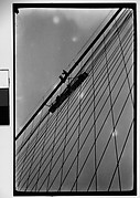 [Workers and Trolley on Cables of Brooklyn Bridge, New York City]