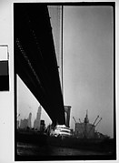 [Underneath the Brooklyn Bridge with Ship on East River, New York City]