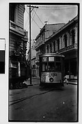 [Streetcar Rounding Corner, Vedado District, Havana]