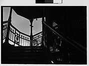 [Elevated Train Platform Railings and Steps with Advertisements, New York City]