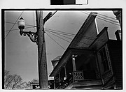 [Jigsaw Trim Roofline of Saake's Drugstore with Streetlight and Power Lines, Probably Millerton, New York State]