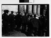 [Crowd of Men Outside Public Building, From Behind, Possibly Newcastle, Delaware]