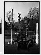 [Railroad Crossing and Flatbed Wagons, Copake, New York]