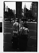 [Straw Hat Salesmen with Sandwich Board Advertisements, Union Square West?, New York City]
