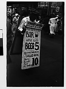 [Man Wearing Sandwich Board Advertisement, Fourteenth Street, New York City]