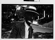[Man Wearing Straw Boater on Street, Probably Vicinity Danbury, Connecticut]