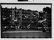 [Crowd in Front of Tenement Buildings, New York City]