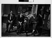 [Men Seated on Bench Outside Tobacconist Shop, New York City]