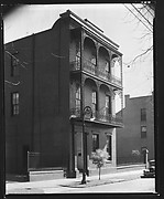 [Oblique View of Cast-Iron Balconied House in French Quarter, New Orleans, Louisiana]